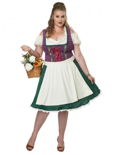 Dirndl-Kostüm für Damen in Übergröße Karnevals-Verkleidung grün-weiss-1