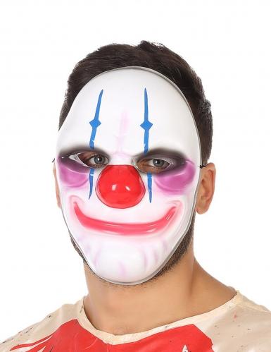 Schaurige Clownsmaske für Halloween weiss-bunt
