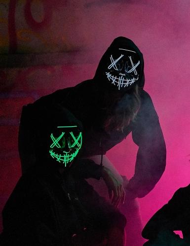 Leuchtende LED-Maske Halloween-Maske Mordnacht schwarz-grün-2