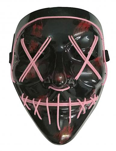 Leuchtende LED-Maske Halloween-Maske Mordnacht schwarz-lila-1