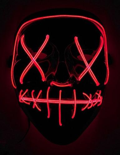 Leuchtende LED-Maske Halloween-Maske Mordnacht schwarz-rot
