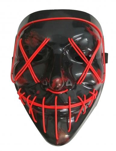 Leuchtende LED-Maske Halloween-Maske Mordnacht schwarz-rot-1