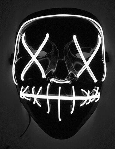 Leuchtende LED-Maske Halloween-Maske Mordnacht schwarz-weiss