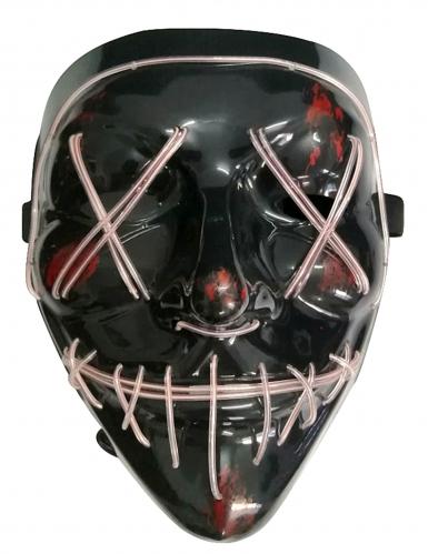 Leuchtende LED-Maske Halloween-Maske Mordnacht schwarz-weiss-1
