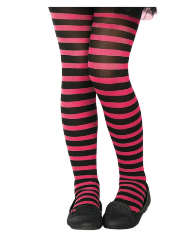 Halloween-Strumpfhose für Kinder Kostüm-Accessoire schwarz-pink