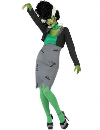 Monster-Kostüm für Damen grün-grau Halloween