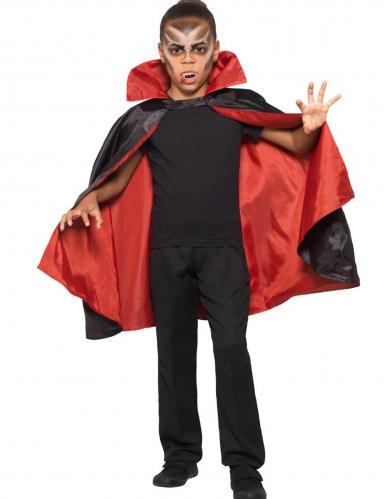 Wende-Cape für Kinder Halloween-Zubehör rot-schwarz