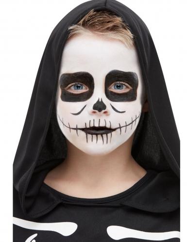 Schauriges Skelett-Make-up für Kinder Halloween schwarz-weiss