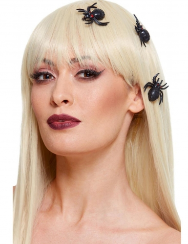 Spinnen-Haarschmuck für Halloween 3 Stück schwarz
