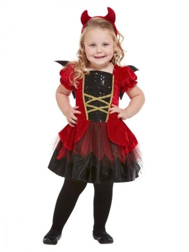 Süßes Teufelchen-Mädchenkostüm für Halloween rot-schwarz-gold