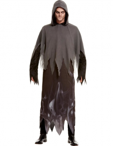Geister-Kostüm für Herren Phantom-Verkleidung schwarz-grau