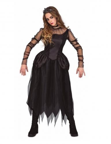 Dunkle Gothic-Prinzessin Kostüm für Damen Halloween schwarz