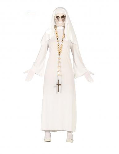 Fürchterliche Geister-Nonne Damenkostüm Halloween weiss