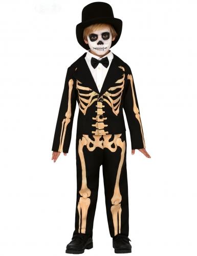Charmantes Skelett-Kostüm für Jungen Halloween schwarz-beige