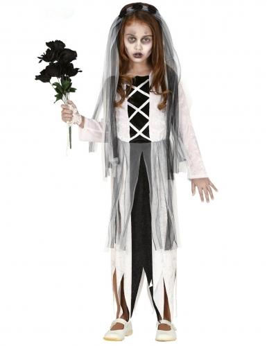 Geisterbraut-Mädchenkostüm für Halloween schwarz-weiss
