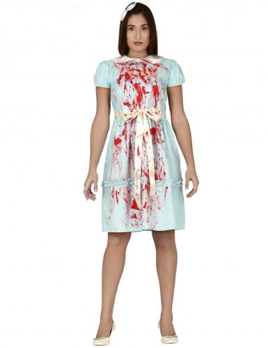 Gespenster-Kostüm für Damen Halloween-Verkleidung blau-weiss