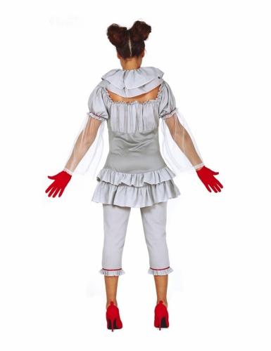 Psycho-Clown Damenkostüm für Halloween grau-rot-1