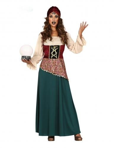 Geheimnisvolle Wahrsagerin Karnevals-Kostüm für Damen grün-rot