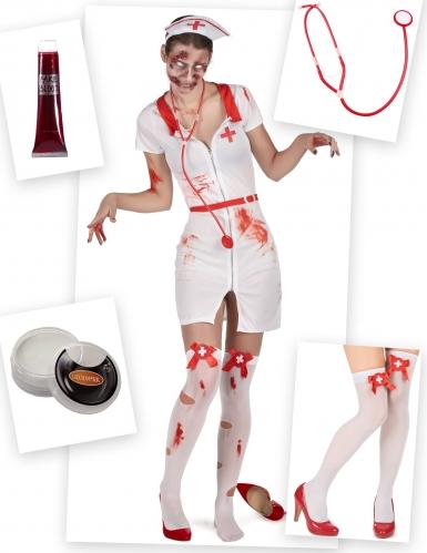 Zombie-Krankenschwesterkostüm und Kostüm-Accessoires 5-teilig weiss-rot