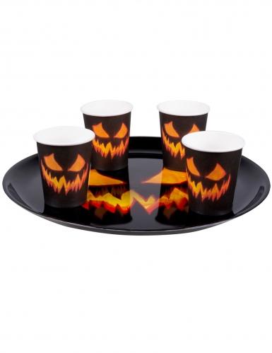 Tablett Halloween-Kürbis Partyzubehör schwarz-orange 34,5 cm