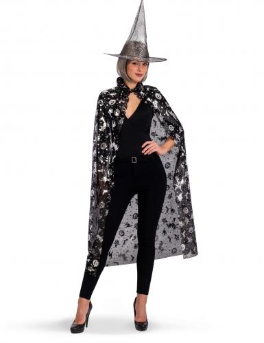 Hexen-Kostüm-Set für Damen 2-teilig schwarz-silber