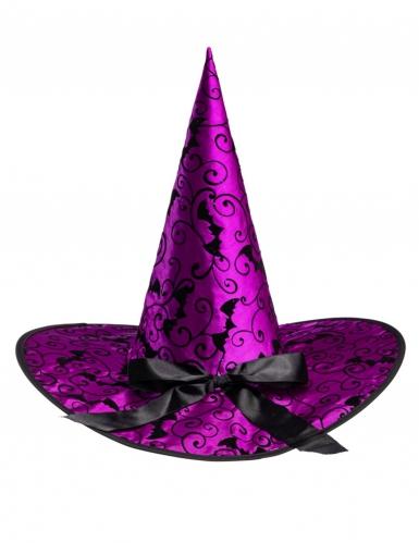 Hexenhut Kostüm-Accessoire für Damen Halloween und Karneval lila 36cm-1
