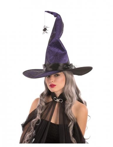 Stilvoller Hexenhut mit Spinne Halloween-Zubehör lila-schwarz
