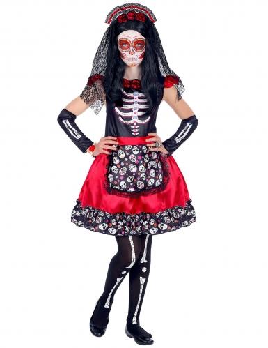 Tag der Toten-Kostüm für Mädchen Halloween-Kostüm rot-schwarz-1