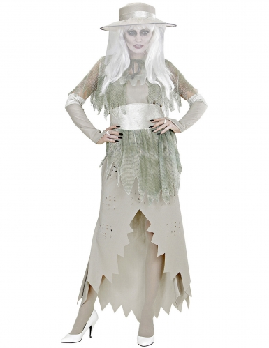 Edles Geisterkostüm für Damen Halloween-Verkleidung grau-grün