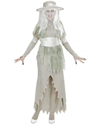 Edles Geisterkostüm für Damen Halloween-Verkleidung grau-grün-1