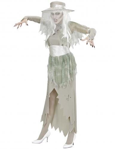 Edles Geisterkostüm für Damen Halloween-Verkleidung grau-grün-2