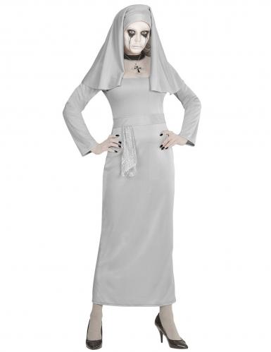 Gespenstisches Nonnen-Kostüm für Damen Geister-Nonne grau-1