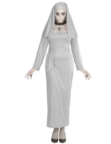Gespenstisches Nonnen-Kostüm für Damen Geister-Nonne grau-2