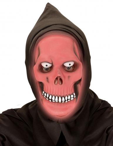 Skelett-Vollgesichtsmaske nachtleuchtend Halloween schwarz-rot