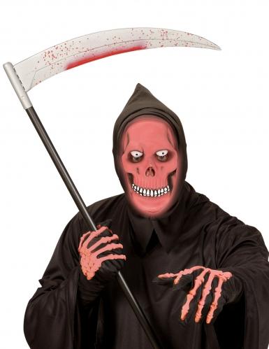 Skelett-Vollgesichtsmaske nachtleuchtend Halloween schwarz-rot-1