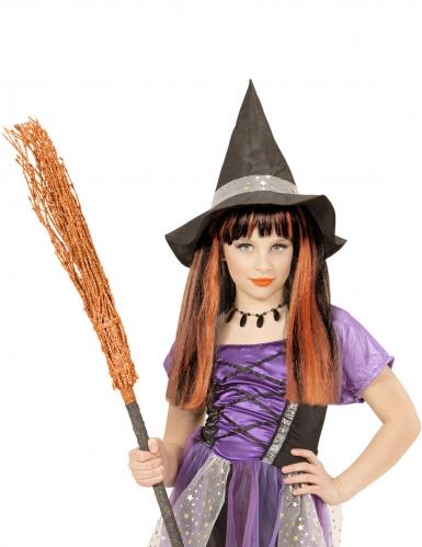 Feurige Hexen-Perücke für Mädchen Halloween-Accessoire schwarz-orange-1