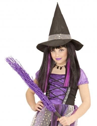 Hexen-Perücke für Mädchen Kostümzubehör schwarz-lila -1