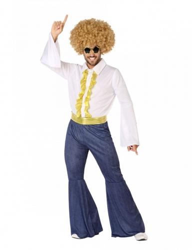 70´s-Disco-Kostüm für Herren Karnevals-Verkleidung weiss-blau