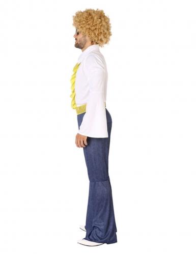 70´s-Disco-Kostüm für Herren Karnevals-Verkleidung weiss-blau-1