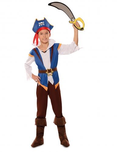 Abenteuerliches Piratenkostüm für Jungen Karnevals-Verkleidung blau-braun-1