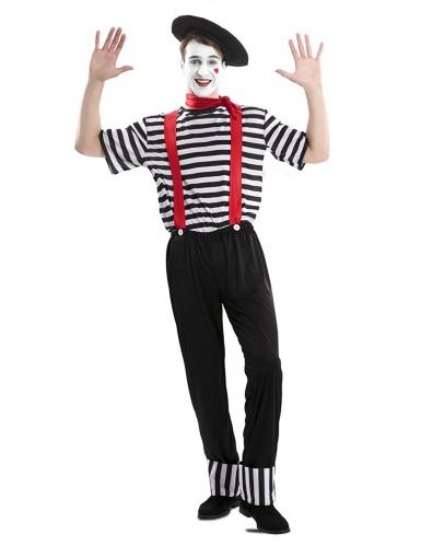 Pantomime-Kostüm für Herren Karnevals-Verkleidung schwarz-weiss