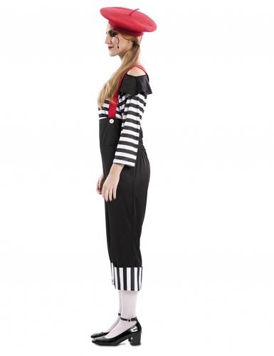 Pantomimische-Verkleidung für Karneval Damenkostüm schwarz-weiss-rot-1