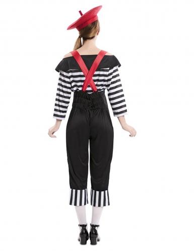Pantomimische-Verkleidung für Karneval Damenkostüm schwarz-weiss-rot-2