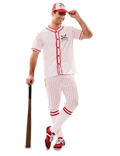Baseball-Spieler Herrenkostüm für Fasching Sportler weiss-rot