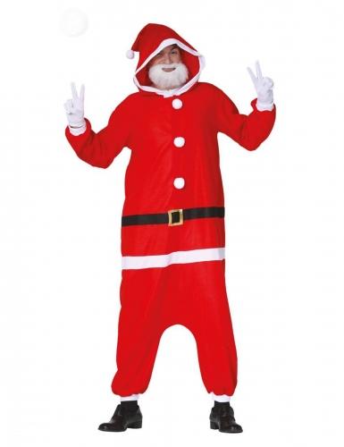 Weihnachtsmann-Overall für Erwachsene Pyjama-Einteiler rot-weiss