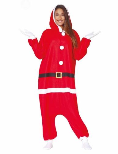 Weihnachtsmann-Overall für Erwachsene Pyjama-Einteiler rot-weiss-1