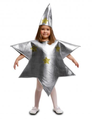 Sternen-Kostüm für Kinder weihnachtliche-Verkleidung silber-goldfarben