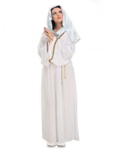 Jungfrau Maria-Damenkostüm für Weihnachten weiß-goldfarben