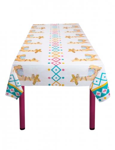 Lama-Tischdecke Festtafel Zubehör für Geburtstage weiss-bunt 130 x 180 cm