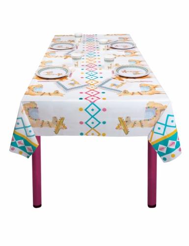 Lama-Tischdecke Festtafel Zubehör für Geburtstage weiss-bunt 130 x 180 cm-1